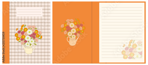 Design notebook with floral bouquet in the teapot - 215750459