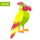 Green parrot with yellow wings and a pink beak. Cartoon colorful character for children. Flat style. Vector illustration. - 215755624