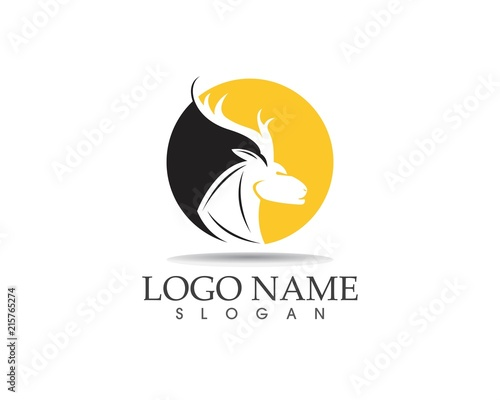 Deer head icon logo vector illustration