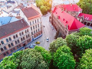 street of old european city on sunset