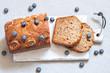 Leinwanddruck Bild - banana bread with blueberries