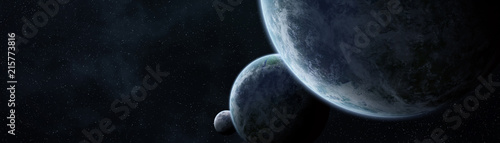 Aluminium Heelal Panoramic view of planets in distant solar system 3D rendering elements of this image furnished by NASA