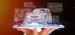 Leinwandbild Motiv Man holding a Dashboard smartcar interface dashboard 3d rendering