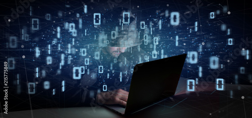Hacker Man holding Data binary cloud 3d rendering