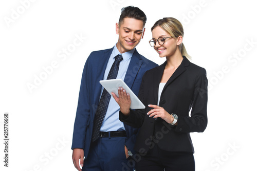young business partners using tablet together isolated on white