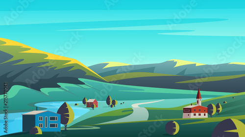 Foto Spatwand Turkoois Colorful vector illustration panorama eco landscape with small town placed on lands of remote valley with mountains and blue sky.
