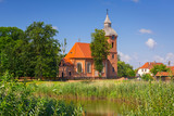 Beautiful brick church in country side near Morag, Poland - 215778232