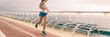 Leinwanddruck Bild - Cruise exercise fitness - people staying fit during Caribbean vacation holiday banner panorama of running shoes and healthy fit body.