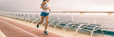 Cruise exercise fitness - people staying fit during Caribbean vacation holiday banner panorama of running shoes and healthy fit body.
