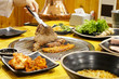 Korean famous food BBQ set with various kind of ingredient.   - 215779890