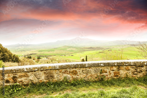 Fotobehang Toscane Tuscany landscape and free space for your decoration.