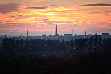 Sunset over industrial zone in Gliwice © antic