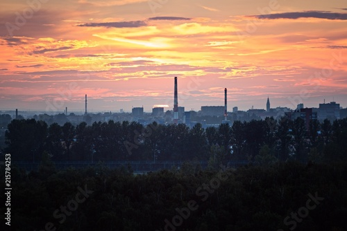 Sunset over industrial zone in Gliwice - 215784253