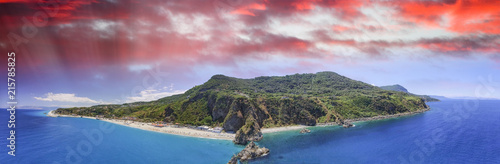 Panoramic aerial view of Tonnara Beach in Calabria with Scoglio Ulivo, Italy - 215785825
