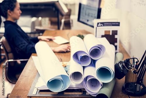 Sticker businesswoman working in office