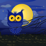 blue cartoon night owl with a full moon above a pine forest