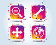 Magnifier glass and globe search icons. Fullscreen arrows and wrench key repair sign symbols. Colour gradient square buttons. Flat design concept. Vector