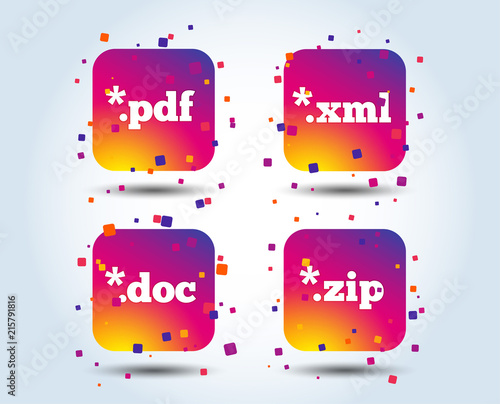 Document Icons File Extensions Symbols Pdf Zip Zipped Xml And