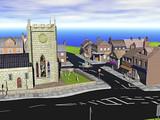 Kleinstadt mit Straßen und Kirche