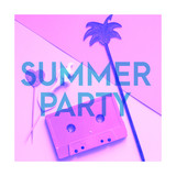 Audio cassette tape, dinosaur figure, palm and text Kid of 90s. Modern collage in pink colors for party design