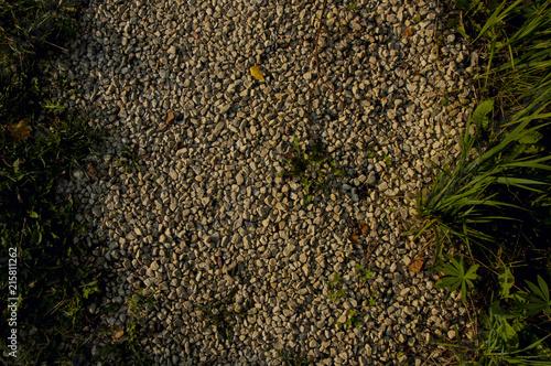 Aluminium Stenen Stone rock road with grass backgrounr texture