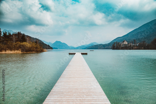 Aluminium Pier Wooden pier at Lake Fuschlsee in summer, Salzburg, Austria