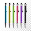 Design set of realistic colored pen on transparent background. School or office items, colorful pen vector illustration.
