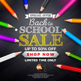 Back to school sale design with colorful pencil and typography lettering on black chalkboard background. Vector Illustration with Special Offer Typography Elements for Coupon, Voucher, Banner, Flyer