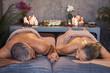 Leinwanddruck Bild Mature couple at spa