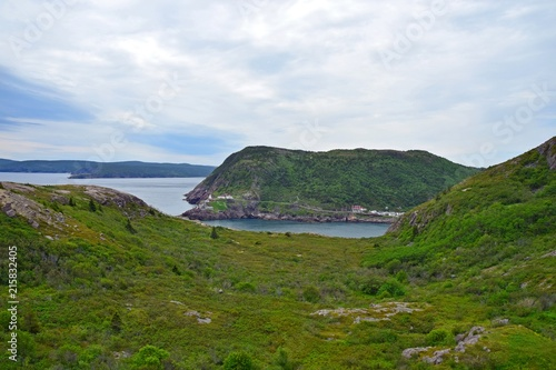 Foto Spatwand Canada view from Signal Hill towards the Fort Amherst lighthouse on the entrance of the St John's harbour, Newfoundland Canada