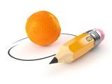 Orange with pencil