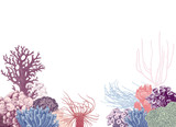 Vector background with colorful coral reef - 215834622