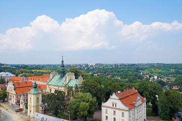A vast panorama of the historic Polish city of Sandomierz.