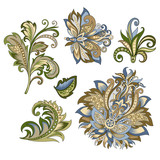 set of vintage decorative flowers with leaves - 215840044