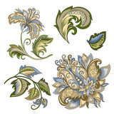 set of vintage decorative flowers with leaves - 215840066