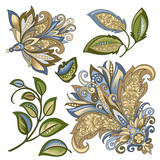 set of vintage decorative flowers with leaves - 215840072