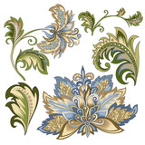 set of vintage decorative flowers with leaves - 215840087