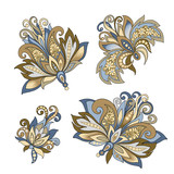 set of vintage decorative flowers with leaves - 215840099