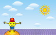 Sunny smiling little man opens his arms, hugs on the beach against the backdrop of the sea, the sun and clouds. Cartoon vector graphic.