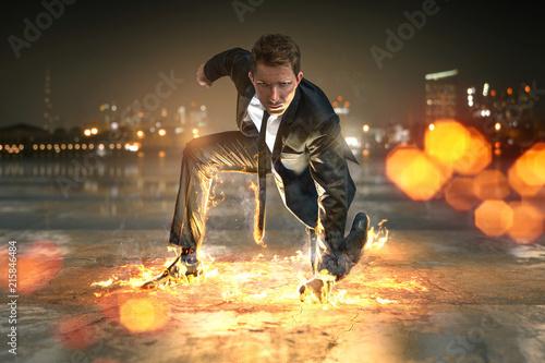 Leinwandbild Motiv Geschäftsmann als Superheld