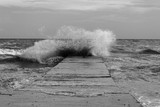 concrete embankment on the sea - 215853212