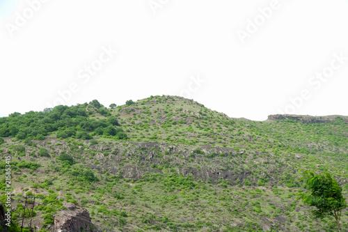Aluminium Olijf lush green landscape of mountain and hills in monsoon season, Purandar, Maharashtra, India