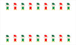 Illustrated red and green Christmas elves on white