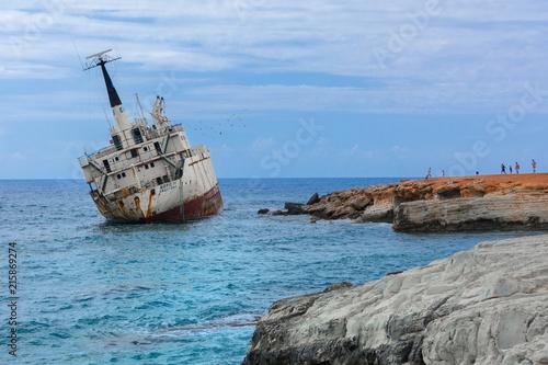Aluminium Schipbreuk Wrak statku Edro III, Pegeia, Paphos, Cypr