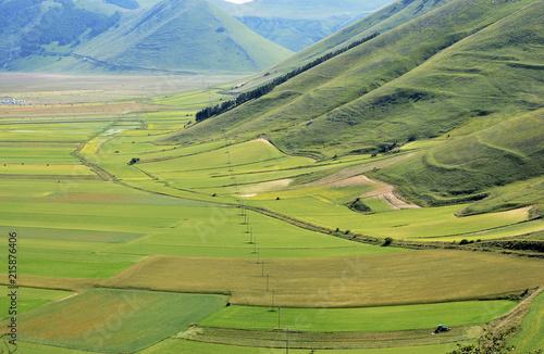 Canvas Pistache Umbria, Italy, Pian Grande of Castelluccio di Norcia with Sibillini mountains