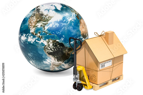 worldwide household moving services concept hydraulic hand pallet