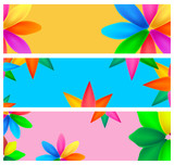 Spring / Summer banner set with vibrant colored flowers. - 215883296