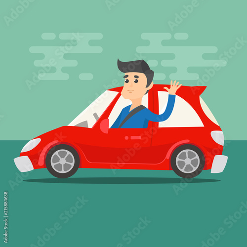 Fotobehang Auto Man waving his hand while driving a car. Transportation red vehicle. Flat color style. Vector illustration.
