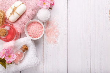 Pink Spa setting and health care items on white background. Space for text, flat lay © Lana_M