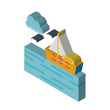 Sea isometric right top view 3D icon